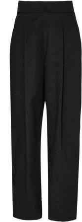 High-Waist Cotton Tailored Pants