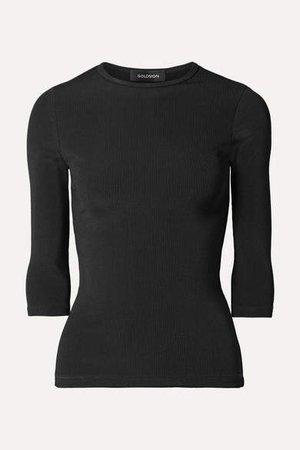 The Rib Stretch Cotton-blend Top - Black