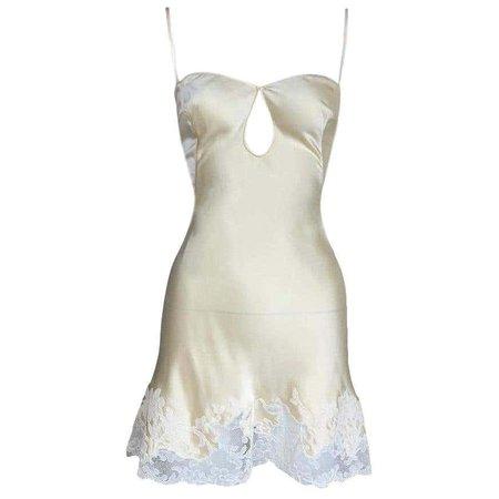 C.1999 Christian Dior John Galliano Silk Slip Cut-Out Lace Trim Mini Dress For Sale at 1stDibs