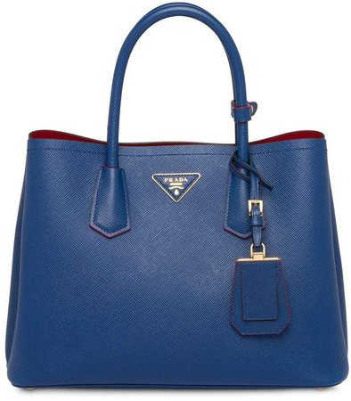 Double leather medium handbag