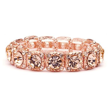 Rose-Gold Coral Color Wholesale Bridal or Prom Stretch Bracelet with Crystals - Mariell Bridal Jewelry & Wedding Accessories