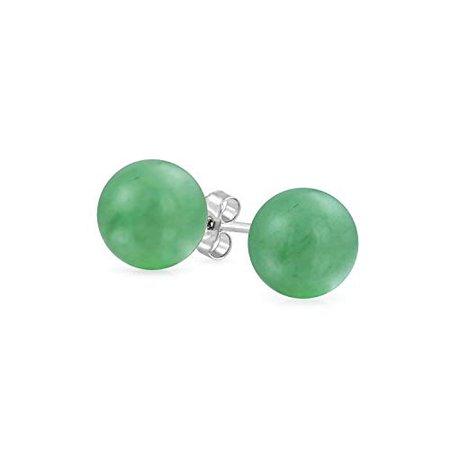 Amazon.com: Simple Dyed Gemstone Green Aventurine Round Ball Stud Earrings For Women 925 Sterling Silver 8MM: Earrings For Women: Jewelry
