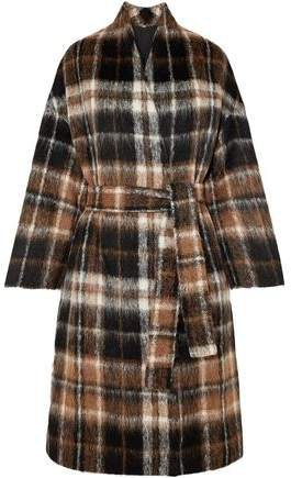 Embellished Checked Alpaca And Wool-blend Coat