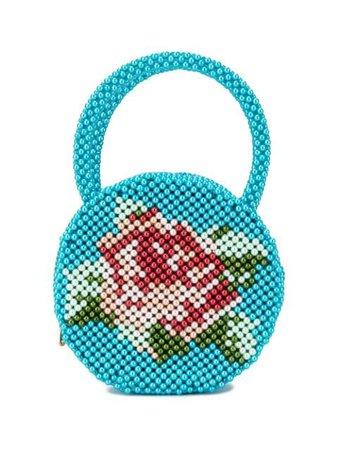 Blue Shrimps Rose Pearl-Embellished Clutch Bag   Farfetch.com