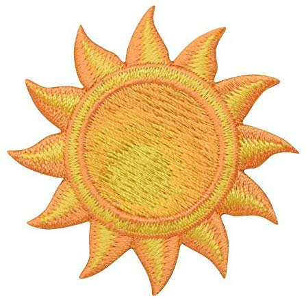 "Amazon.com: (1-7/8"") Tropical Sun - Orange/Yellow - Iron On Applique/Embroidered Patch: Arts, Crafts & Sewing"