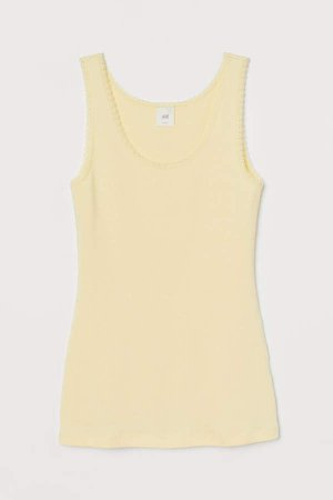 Lace-trimmed Tank Top - Yellow