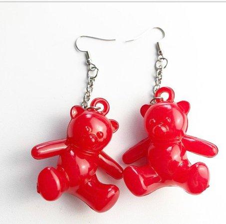 Red Chunky Teddy Bear Earrings / Kitsch / Cute / 90s jewelry | Etsy