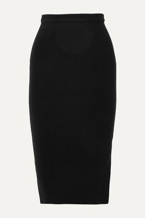 Stretch Silk-blend Skirt - Black