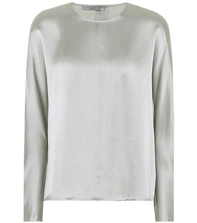Metallic silk top