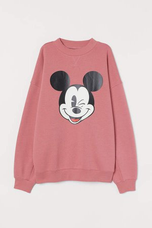 H&M+ Printed Sweatshirt - Pink