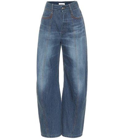 Chloé - High-rise wide-leg jeans   Mytheresa