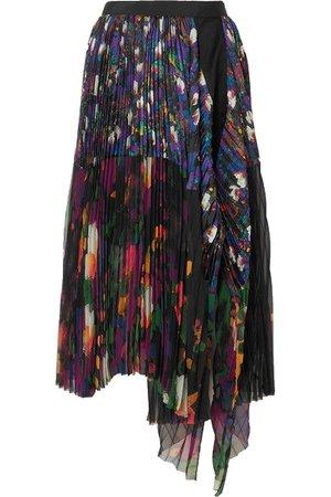 sacai floral pleats skirt