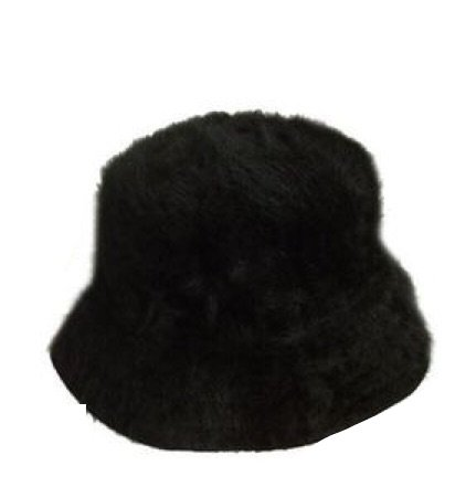 Fluffy Black Bucket Hat