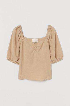 Linen-blend Top - Beige - Ladies | H&M US