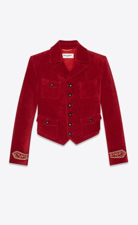 Saint Laurent Short Jacket In Antiqued Velvet    YSL.com