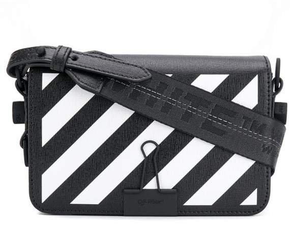 diagonal striped shoulder bag