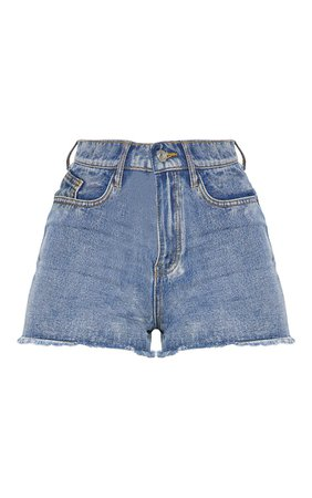 *clipped by @luci-her* Blue High Waisted Denim Shorts | PrettyLittleThing USA