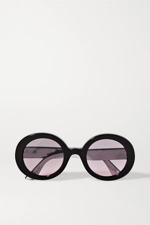 Black Oversized round-frame acetate sunglasses | Gucci | NET-A-PORTER