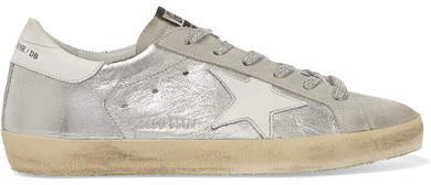 Superstar Distressed Metallic Leather And Suede Sneakers - Silver