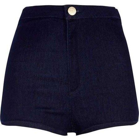River Island Dark wash high waisted tube shorts ($18)