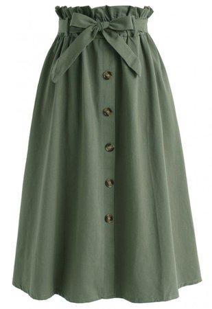 Truly Essential A-Line Midi Skirt in Army Green - Retro, Indie and Unique Fashion