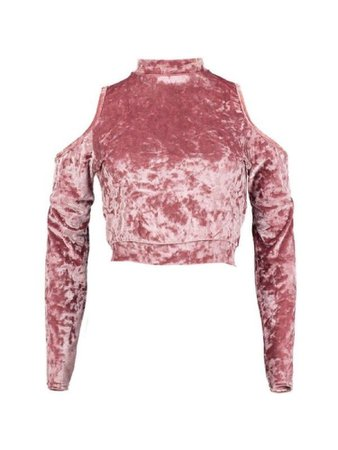 Pink velvet shoulder-less long sleeve crop top