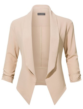 Casual Office Open Front Ruched 3/4 Sleeve Cardigan Blazer Jacket   LE3NO cream