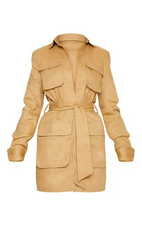 Camel Utility Tie Waist Shirt Dress | Dresses | PrettyLittleThing