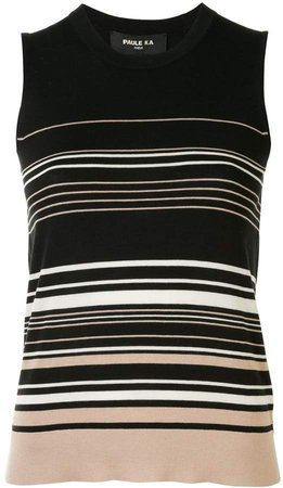 Sleeveless Striped Knit Tank Top