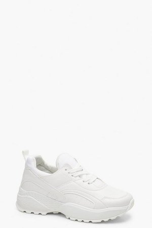 Chunky Dad Trainers | Boohoo White