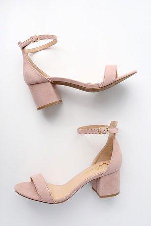 Chic Nude Sandals - Single Sole Heels - Block Heel Sandals
