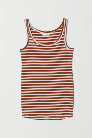 MAMA Ribbed Tank Top - White