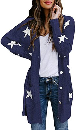 HAPCOPE Women's Star Print Button Down Knit Open Front Cardigan Sweaters with Pockets Black S at Amazon Women's Clothing store