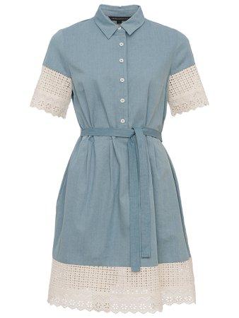 French Connection Holiday Lace Shirt Dress, Indigo/Summer White at John Lewis & Partners