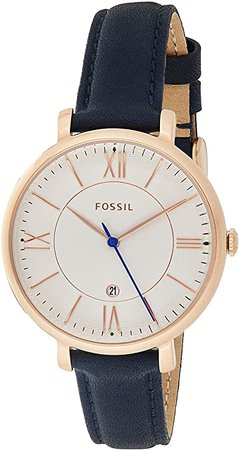 Fossil Women's Jacqueline Quartz Stainless Steel and Leather Casual Watch, Color: Rose Gold-Tone, Blue (Model: ES3843): Fossil: Watches