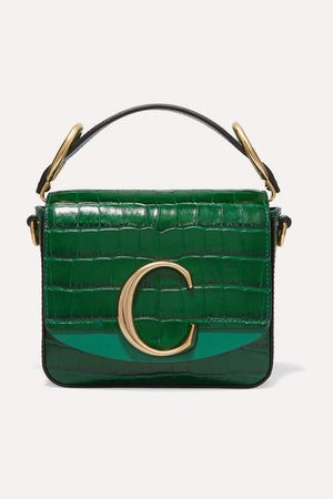 C Mini Suede-trimmed Croc-effect Leather Shoulder Bag - Green