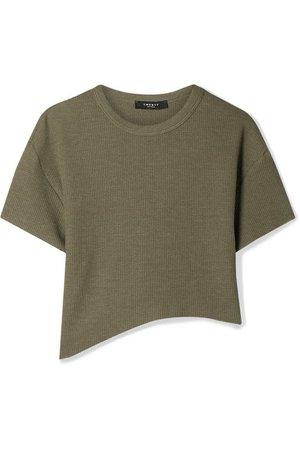 TWENTY Montréal | Everest cropped asymmetric waffle-knit jersey T-shirt | NET-A-PORTER.COM