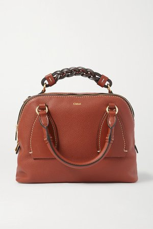Daria Medium Textured And Smooth Leather Tote - Brown