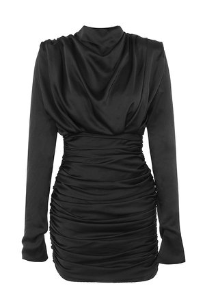 HOUSE OF CB - GIORGIANA BLACK SATIN RUCHED MINI DRESS