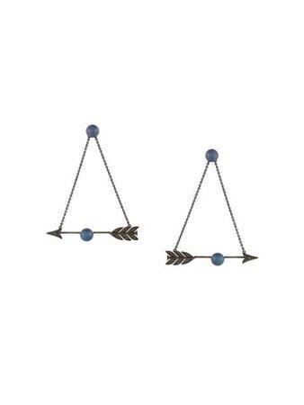 Black Axenoff Jewellery Feather Arrow Earrings | Farfetch.com