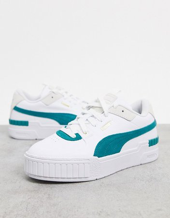 Puma Cali Sport sneakers in white and green | ASOS