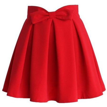 Red bowknot pleated skirt