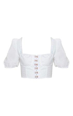 White Hook & Eye Puff Sleeve Top | Tops | PrettyLittleThing