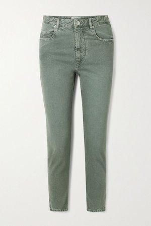 Army green Neac cropped high-rise slim-leg jeans   Isabel Marant Étoile   NET-A-PORTER