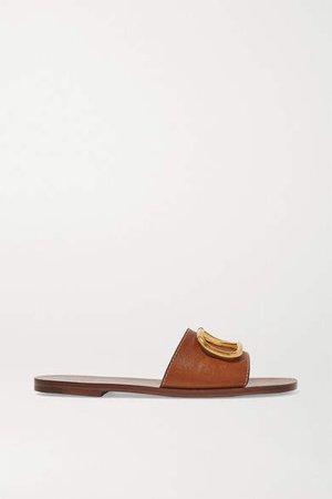 Garavani Go Logo Embellished Leather Slides - Tan