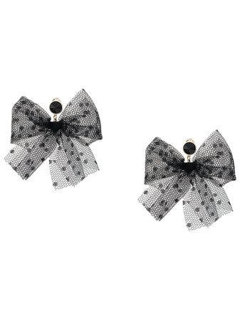 Black Red Valentino Red(V) Point D'esprit Bow Earrings | Farfetch.com