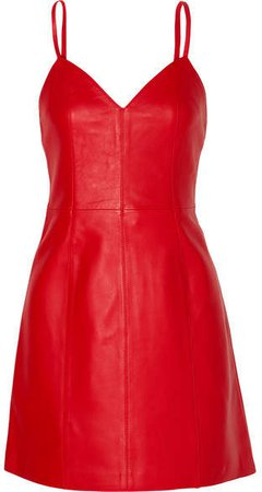 Leather Mini Dress - Red