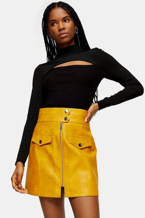 Mustard Zip Through PU Mini Skirt | Topshop