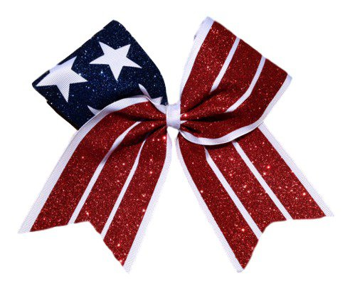 Patriotic American Red White and Blue Flag Cheer Bow