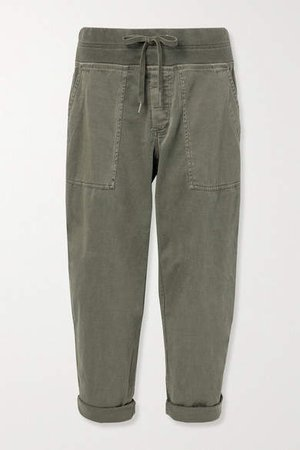 Cropped Cotton-blend Twill Cargo Pants - Green